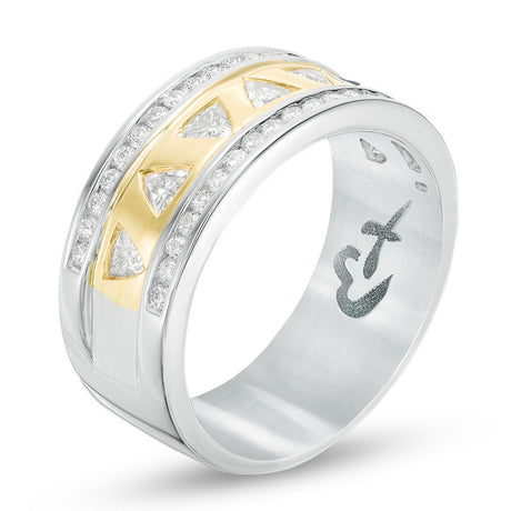 1 CT. T.W. Trillion-Cut Diamond Anniversary Band in 14K Two-Tone Gold