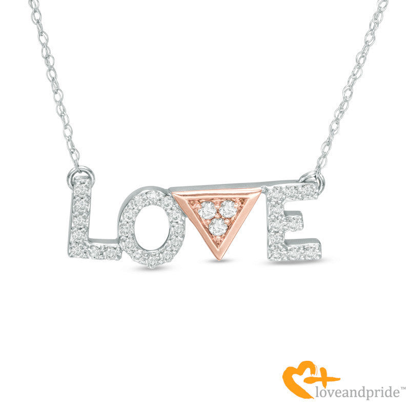 "1/5 CT. T.W. Diamond ""LOVE"" Necklace in 14K Two-Tone Gold - 17"""