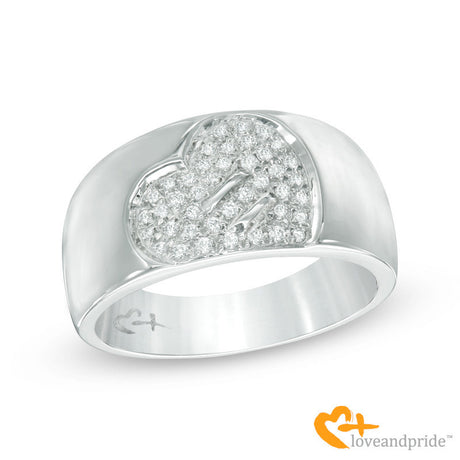 1/5 CT. T.W. Diamond Equality Heart Ring in 10K White Gold
