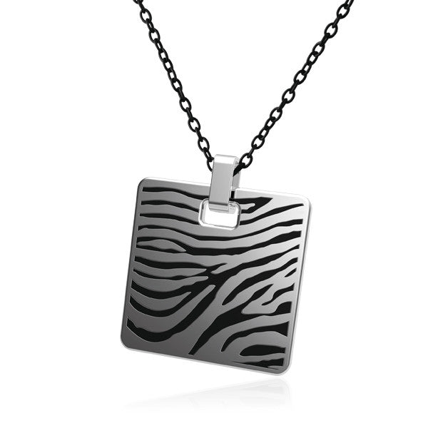 Stainless Steel Pendant With Black Zebra Pattern