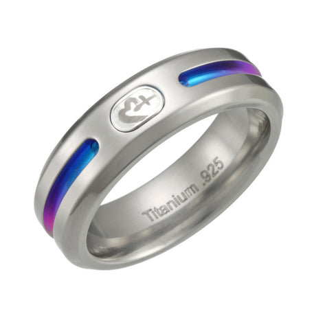 Grey Titanium Ring with Rainbow Colors