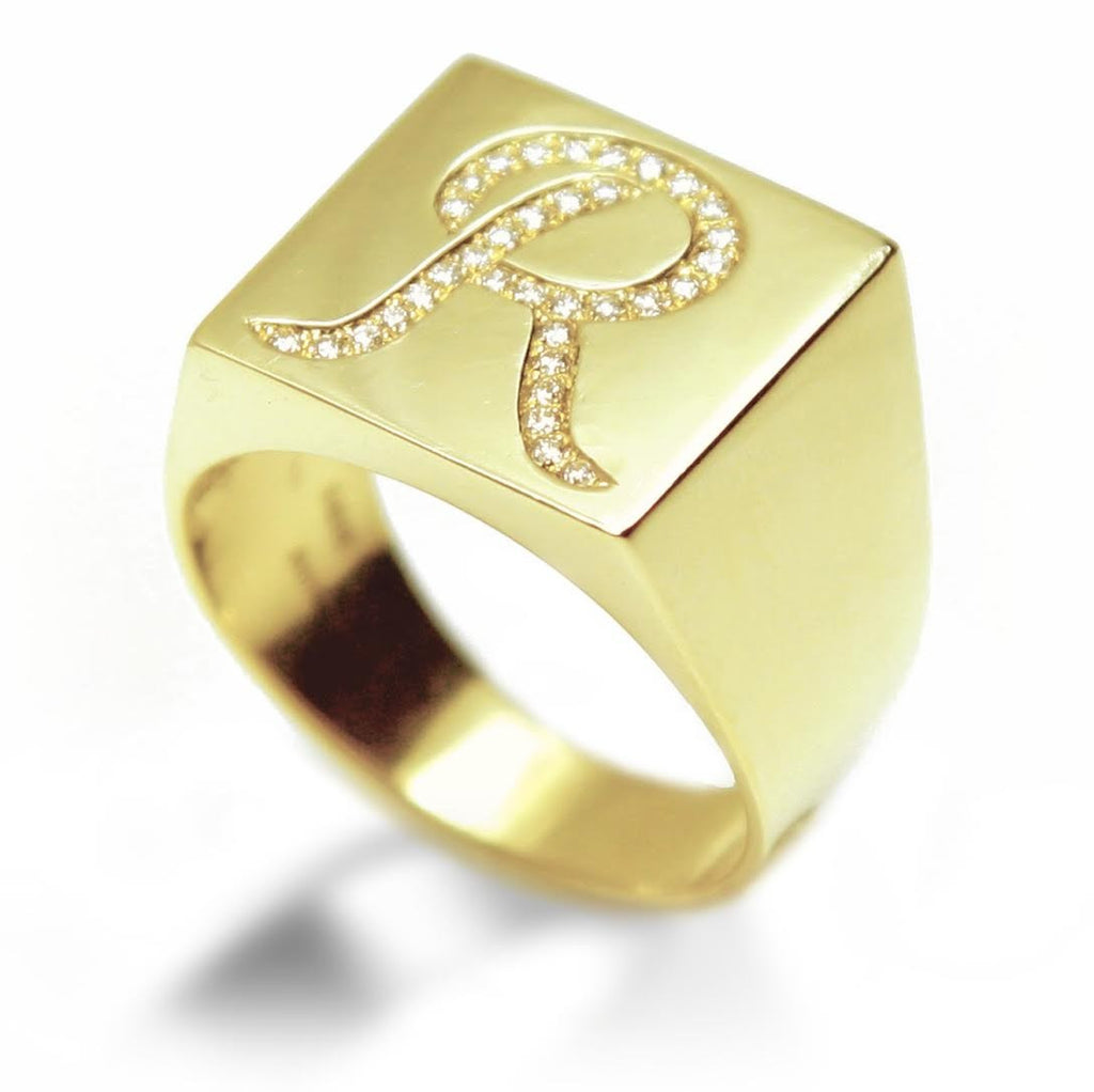 Personalized Gold Signature Diamond Ring