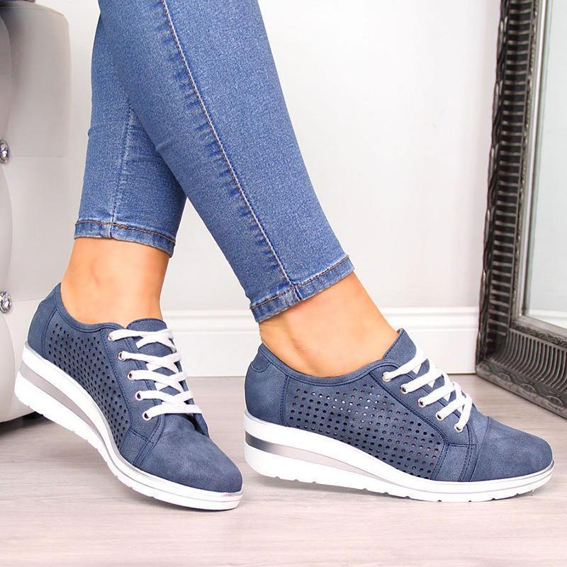 2019 Fashion Leather Hollow-Out Wedge Heel Sneakers