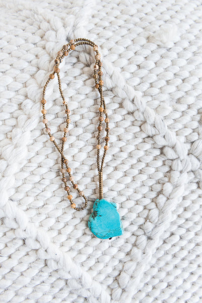 Brown Beaded Turquoise Necklace