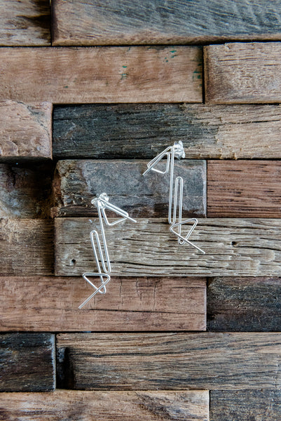Crazy Geometric Silver Earrings