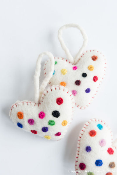 White Polka Dot Heart Ornament