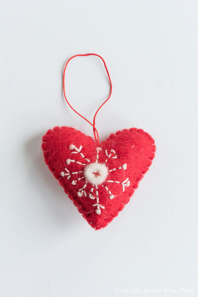 White And Red Stitch Heart Ornament