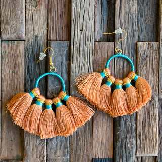 Peach Tassel Earrings