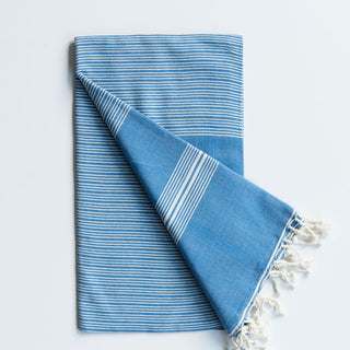 Blue Thin Stripe Turkish Towel