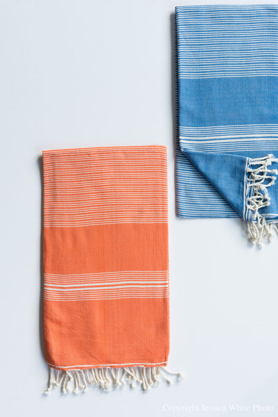 Orange Thin Stripe Turkish Towel