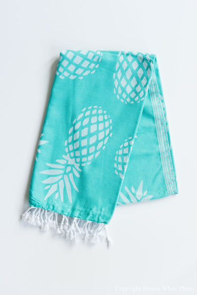 Teal Pineapple Turkish Towel