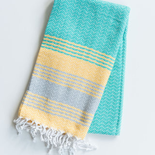 Yellow And Teal Turkish Towel
