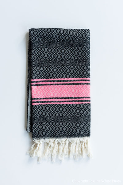 Black And Pink Turkish Towel