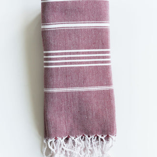 Bordeuax Striped Turrkish Towel