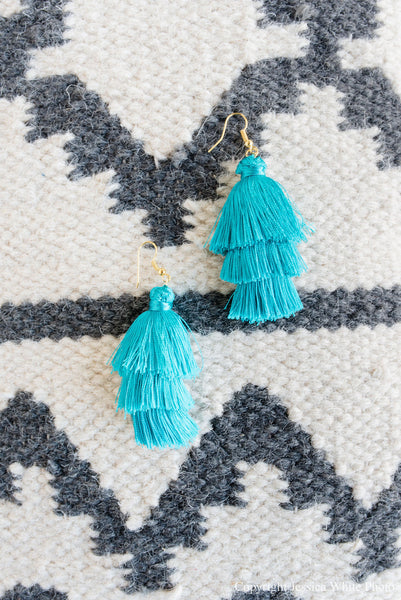 Large Turquoise Fringe Tiered Earrings