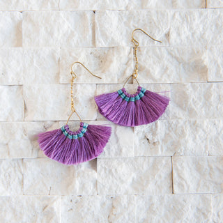 Purple Dangle Fan Fringe Earrings