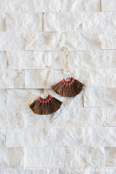 Brown Dangle Fan Fringe Earrings