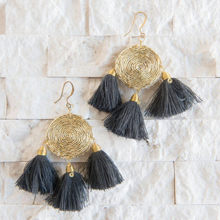Gold And Grey Tassel Earrings