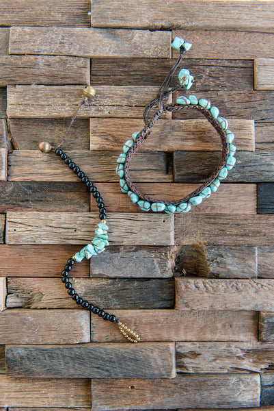 Black Beaded And Turquoise Bracelet
