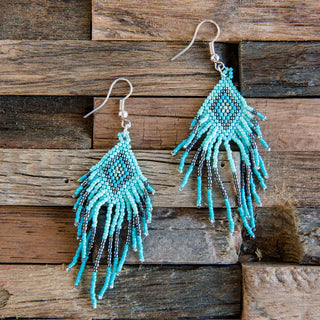 Turquoise Aztec Beaded Earrings