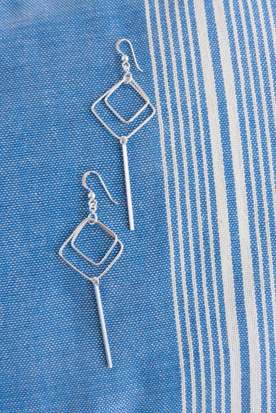 Silver Diamond And Bar Earrings