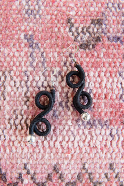 Black Figure Eight Earrings