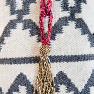 Statement Beaded Tassel Necklace