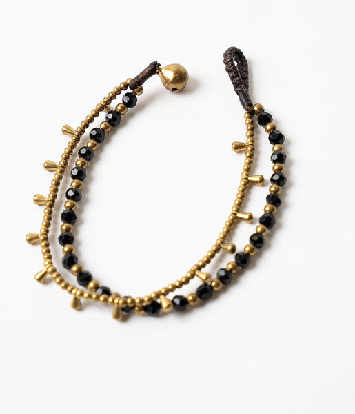 Double Strand Black And Brass Bracelet