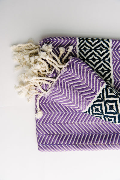 Patterned Purple Turkish Towel