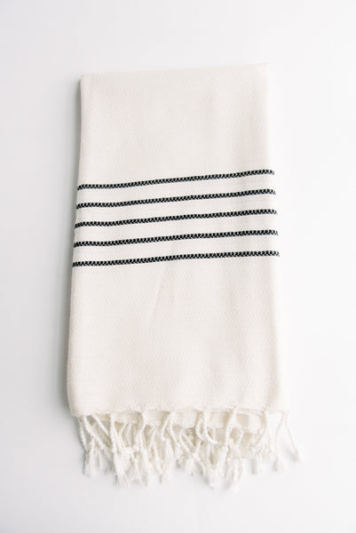 White Turkish Towel With Black Stripes