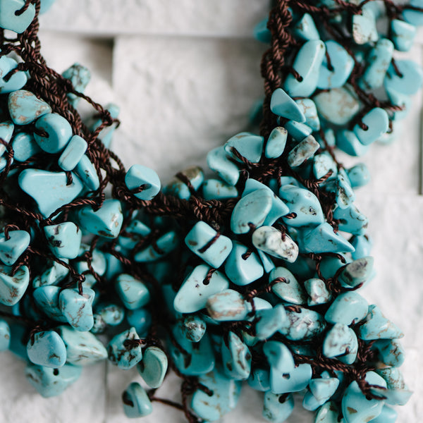 Turquoise Wax Cord Waterfall Necklace