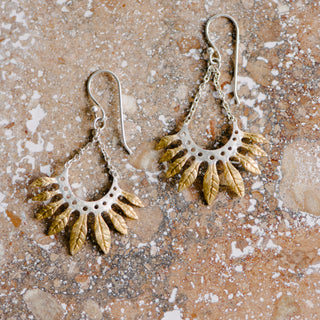 Silver And Gold Feather Earrings