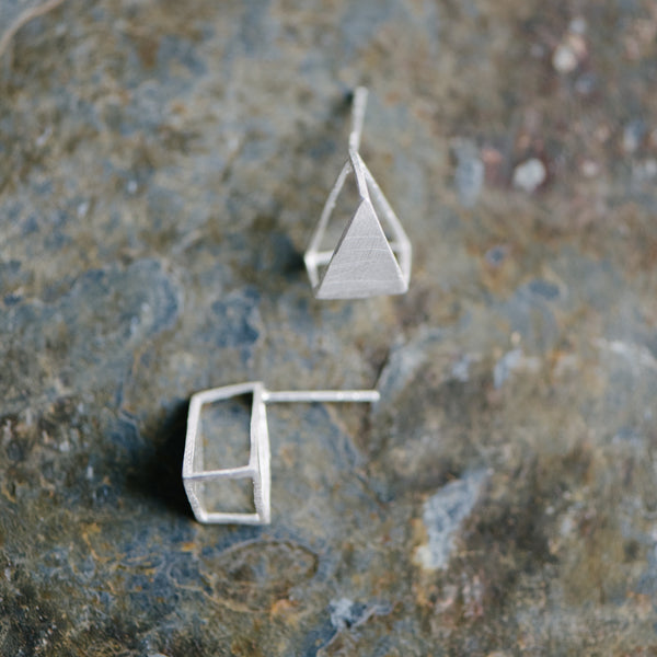 3-D Silver Triangle Earrings