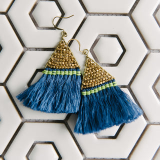 Blue Triangle Fringe Earrings