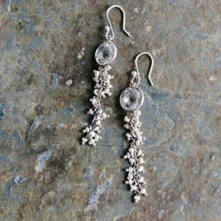 Crystal Quartz and Pearl Earrings