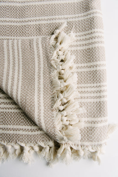 Beige and Cream Turkish Towel Blanket