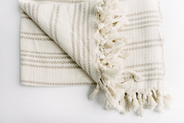Cream And Beige Striped Turkish Towel Blanket