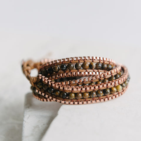 Bronze And Tiger Eye Triple Wrap Bracelet