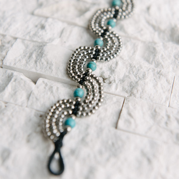 Black Wax Cord Silver And Turquoise Bead Bracelet