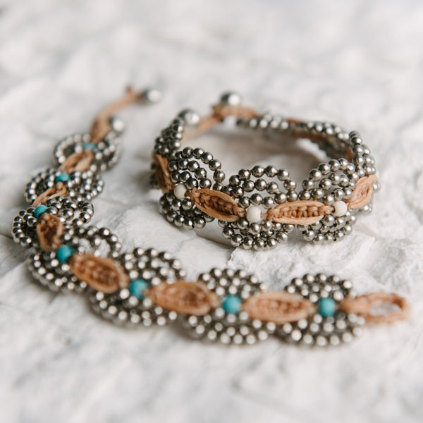 Tan Wax Cord and Circle Beaded Bracelet