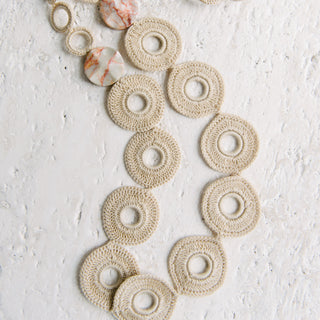 Beige Crochet Circle Necklace