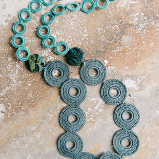 Teal And Grey Crochet Circle Necklace