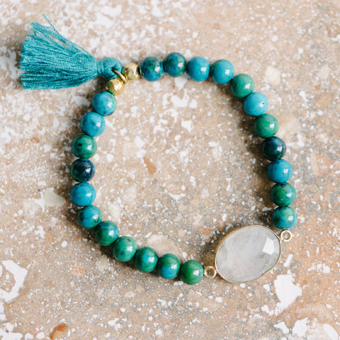 Stretch Beaded Green Bracelet