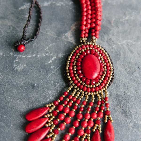Red Pendent Wax Cord Necklace