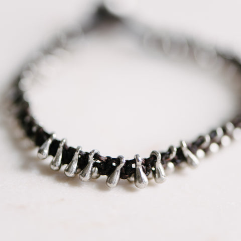 Black Wax Cord And Silver Fringe Bracelet
