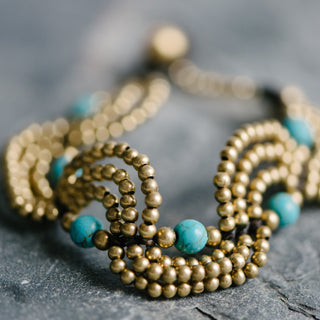 Black Wax Cord Brass and Turquoise Bead Bracelets