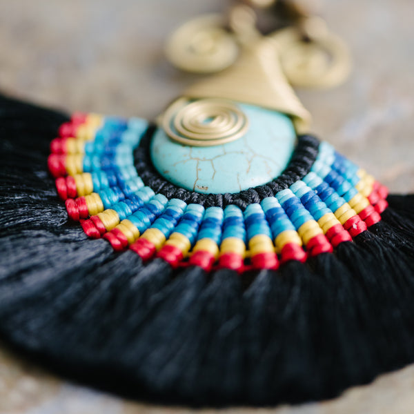 Black Fringe And Turquoise Necklace