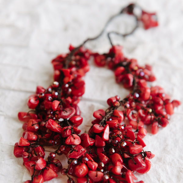Coral Waterfall Necklace