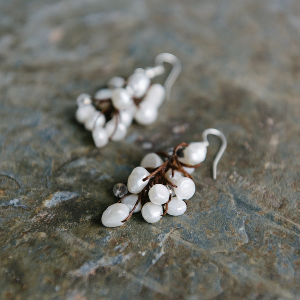 Brown Wax Cord And Cascading Pearl Earrings