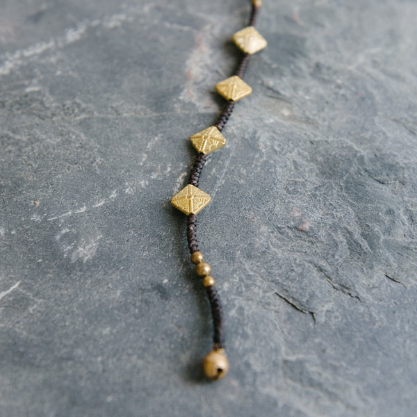 Brown Wax Cord And Brass Bracelet